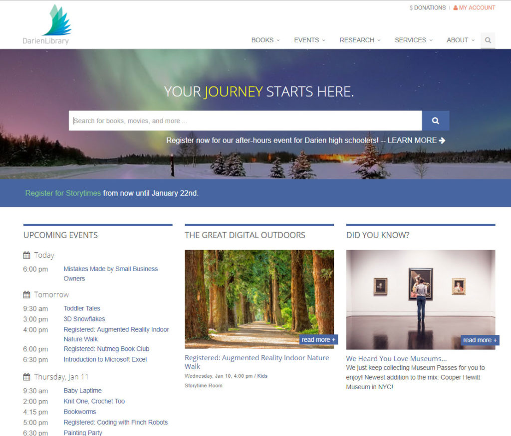 Darien Library website homepage