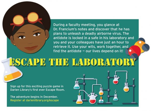 Poster for an Escape Room event titled Escape the Lab